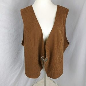 🚫SOLD Western Fuax Suede Leather Vest Stud  Brown